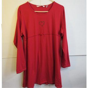 Cottagecore Long Sleeve Red Tunic W/ Heart Embroider Women's Sz Large VS Country